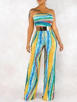 Multicolored Smart Waist Wide Leg Strap Jumpsuit