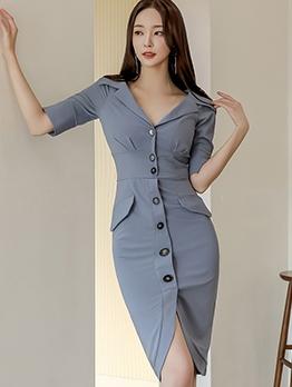 Single-Breasted Solid Half Sleeve Ladies Dress