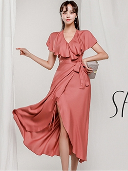 Stylish Solid Ruffled Short Sleeve Maxi Dresses