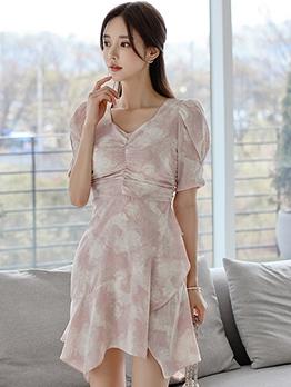 Summer Printed Short Sleeve Ruffled Ladies Dress