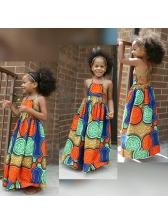 Backless Bohemia Print Sleeveless Maxi Dress For Girl
