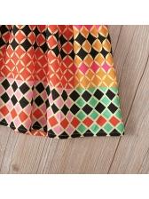 Cross Belt Backless Geometric Print Summer Girls Dress