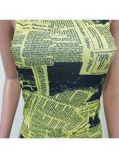 Newspaper Print Sleeveless Summer Shorts Set