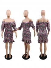 Stringy Selvedge Detail Print Off The Shoulder Dress