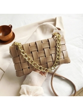 Woven Design Pure Color Thick Chain Crossbody Bags