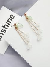 Ins Style Resin Flower Leaf Earrings For Women