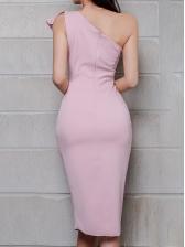Inclined Shoulder Ruffled Slit Ladies Dress