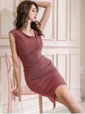 Sexy Solid Slit Bodycon Dress