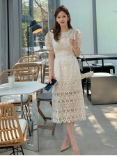 Crew Neck Solid Short Sleeve Lace Dress
