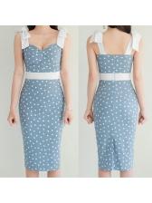 Graceful Polka Dots Sleeveless Bodycon Dress