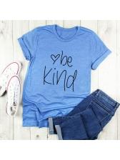 Simple Letter Crew Neck Cotton Ladies T Shirts