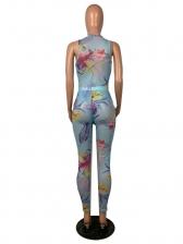 Printed Sleeveless Bodysuit Two Piece Pants Set