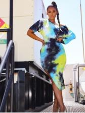 Tie Dye Asymmetric Sleeveless Dress With Cropped T-shirt