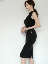 Elegant Solid Sleeveless Summer Dresses