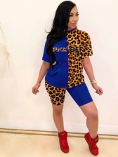 Euro Leopard Printed Shorts Sleeve Two Piece Sets