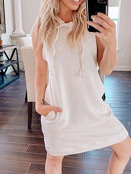 Summer Hooded Solid Sleeveless Dress