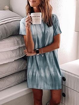 Loose Tie Dye Female Short Sleeve Dress