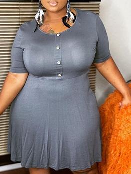 Plus Size Crew Neck Solid Short Sleeve Dress