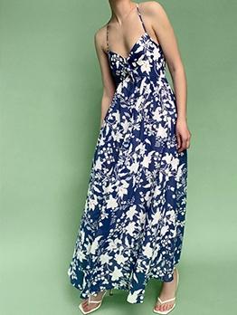 Cross Belt Backless Floral Sundress Long