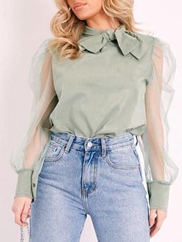 Solid Bowknot Decor Patchwork Fashion Blouse