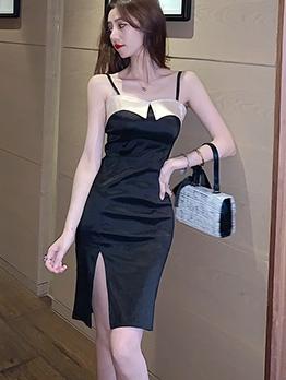 Seductive Patchwork Slit Slip Sleeveless Summer Dresses