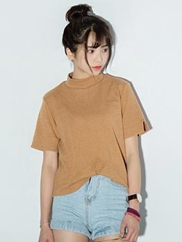 Mock Neck Solid Color Short Sleeve Cotton T-Shirt