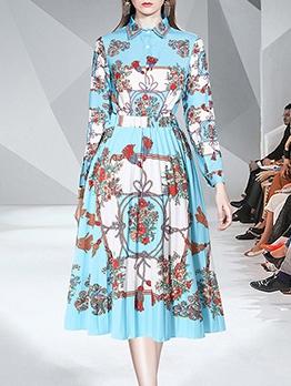 Floral Long Sleeve Shirt With High Waist Pleated Skirt