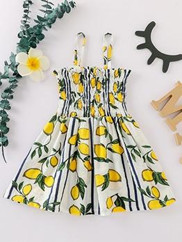 Smart Waist Fruit Print Casual Sundress For Girls