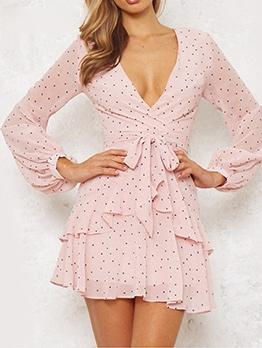 Polka Dots v Neck Frill Long Sleeve Dress