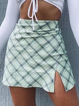 Euro Plaid Slit a Line Skirt