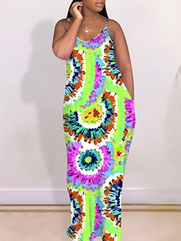 Tie Dye Sleeveless Maxi Dress With Headbands