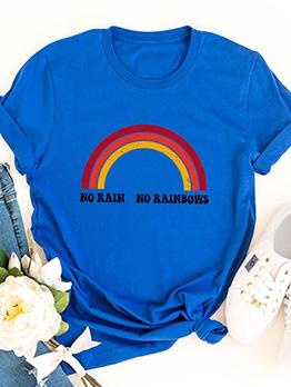 Rainbow Print Short Sleeve Cotton Ladies T Shirts