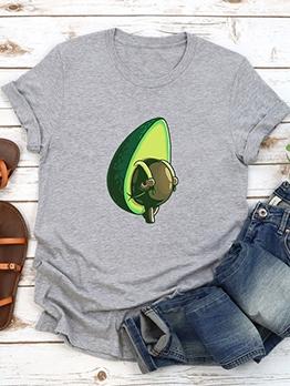 Avocado Print Short Sleeve Cute T Shirts