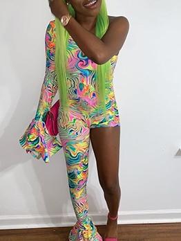 Colorful Print One Sleeve One Leg Skinny Jumpsuit