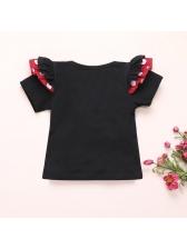 Girls Short Sleeve Tee With Polka Dot Suspender Skirt