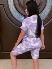 Casual Short Sleeve Tie Dye Women Shorts Set