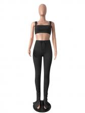 Fashion Off Shoulder Stacked Split Two Piece Pants Set