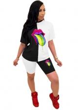Contrast Color Lip Pattern Trendy Two Piece Shorts Set