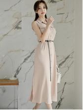 Elegant Solid Single-Breasted Shirt Midi Dress