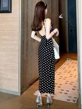 Retro Polka Dots Backless Camisole Midi Dress