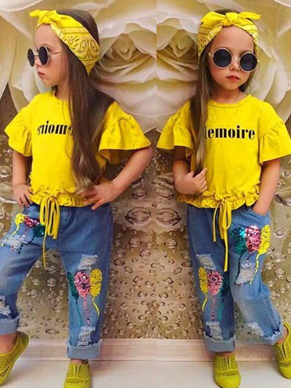 Flare Sleeve Sequin Three Piece Girls Clothing Set