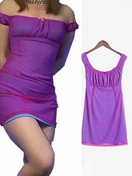 Summer Gauze Patch Purple Off The Shoulder Dress