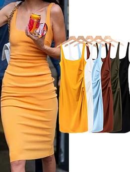 Hot Sale Solid U Neck Sleeveless Tank Dress