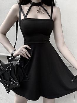 Gothic Style Halter Neck Black Sleeveless Dress