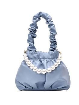 Pleated Pu Detachable Faux Pearl Handle Ladies Handbags