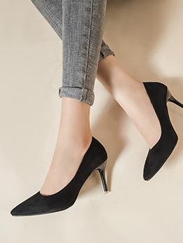 OL Style Slip On Point Toe Black Heels