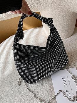 Tiny Rhinestone Fashionable Black Handbag With Chain