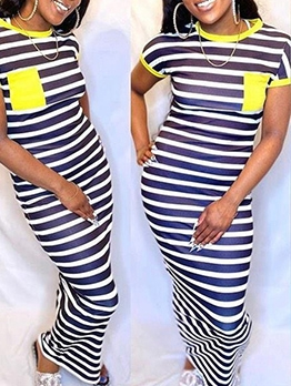 Pockets Decor Striped Short Sleeve Maxi Dress