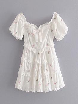 Bowknot Flower Embroidery Short Sleeve Dress