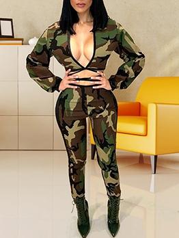 Deep V Neck Camouflage Crop Top And Pants Set